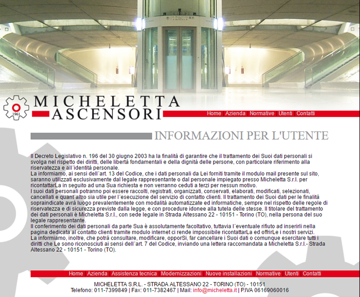 Sito web per Micheletta Ascensori