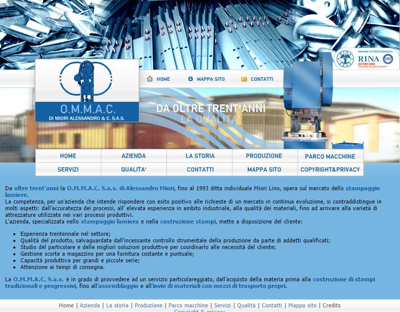 Sito web per O.M.M.A.C. Srl