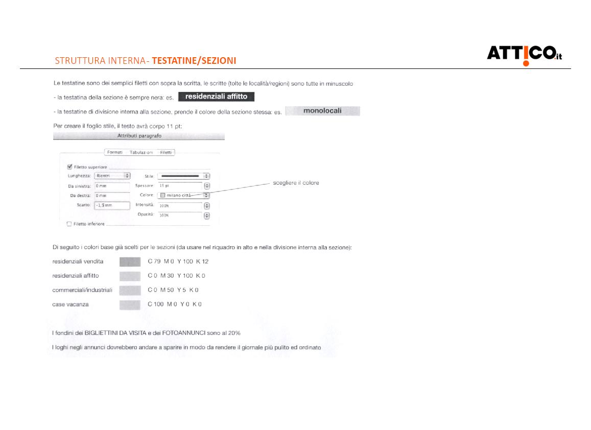 Prima pagina studio rebranding rivista Attico.it - descrizione di testatine e sezioni
