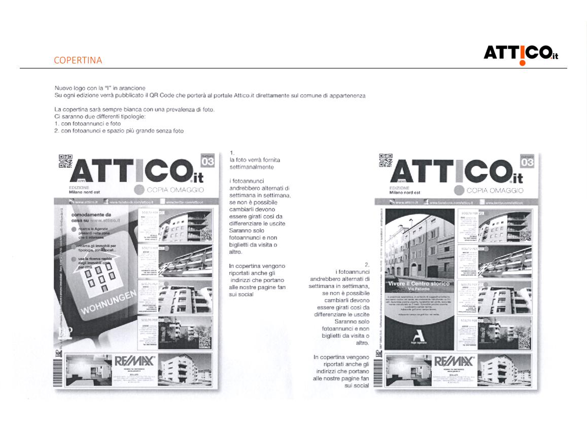 Prima pagina studio rebranding rivista Attico.it - descrizione della copertina