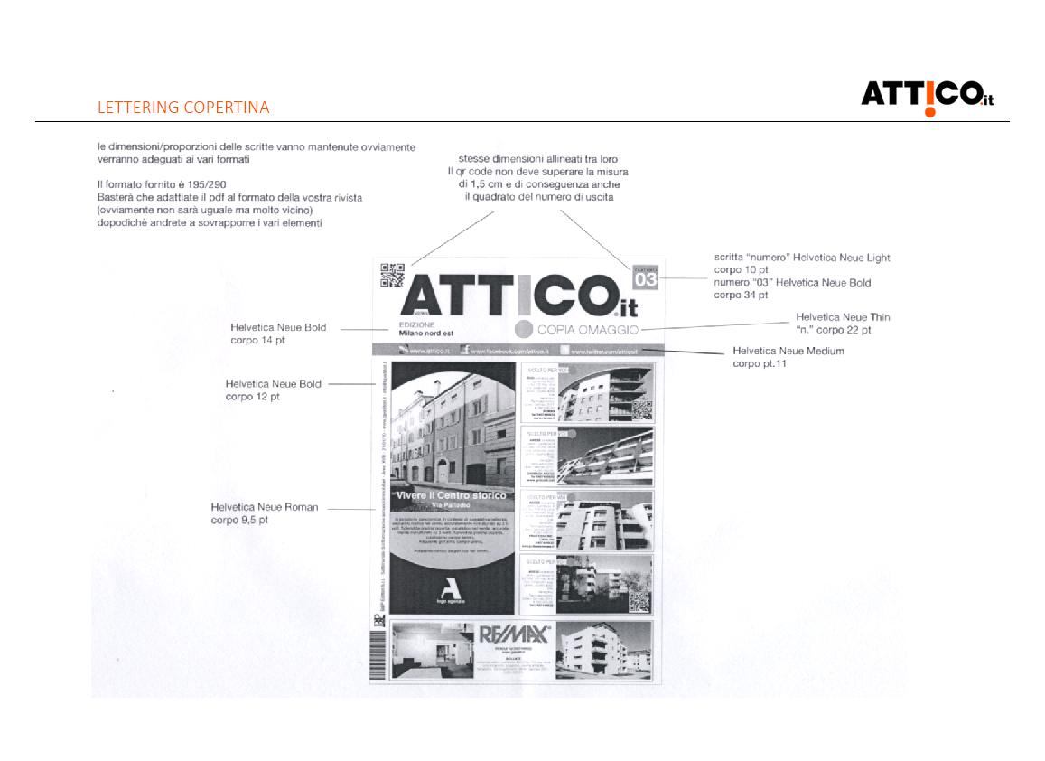 Prima pagina studio rebranding rivista Attico.it - descrizione del lettering della copertina
