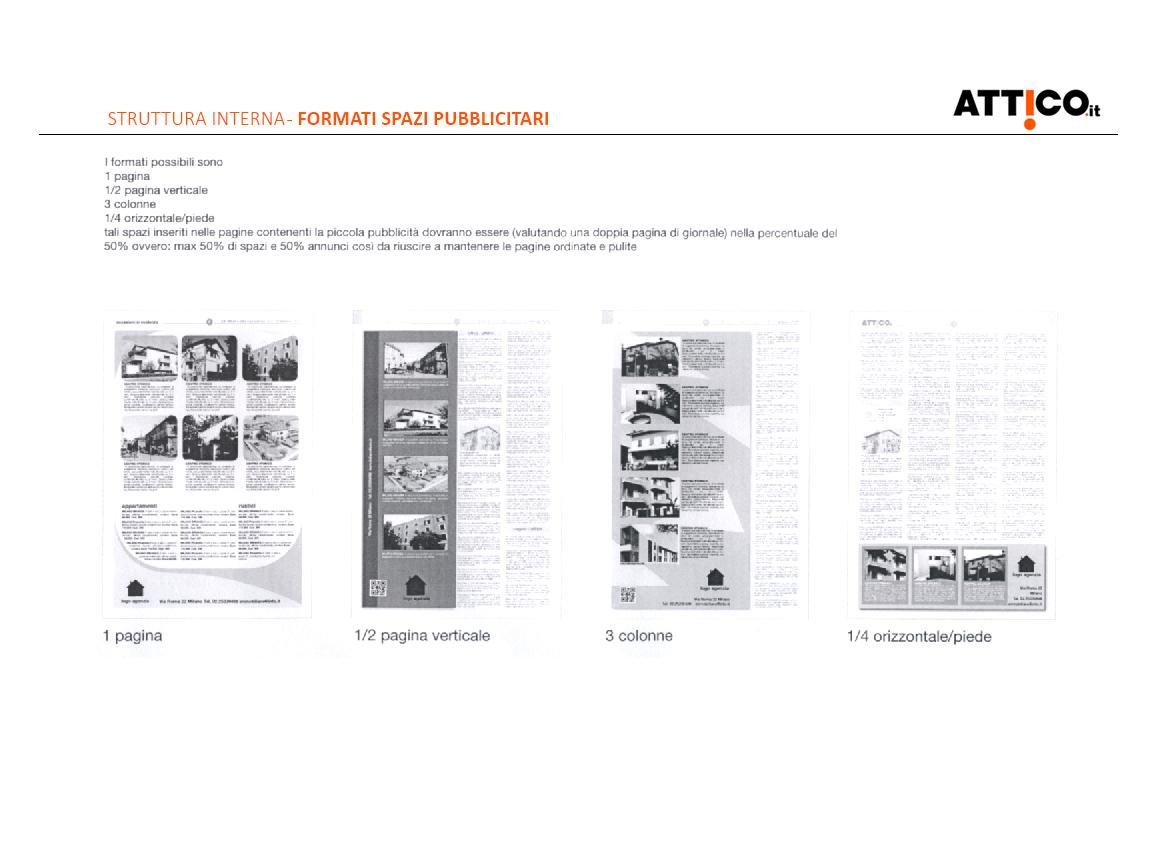 Prima pagina studio rebranding rivista Attico.it - descrizione della struttura interna e dei formati degli spazi pubblicitari